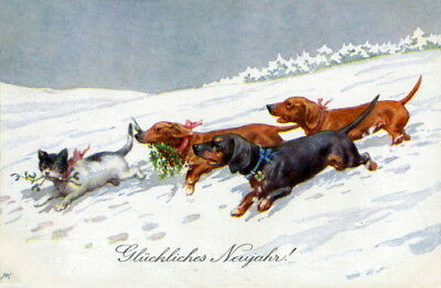 Vintage German New Year~Dachshund Puppy Dogs Chase Cat~Mistletoe~NEW Note Cards