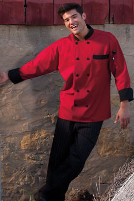 Uncommon Threads Newport chef coat Red with Black trim XS-2XL, 0404