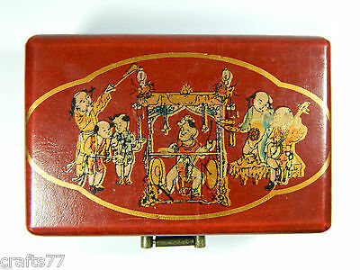 Red Wooden Jewelry Trinket Box Case,Chinese Traditional Musical Instruments