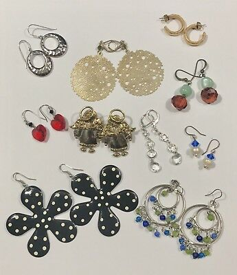 Lot Of 10 Pairs Of Earrings For Pierced Ears