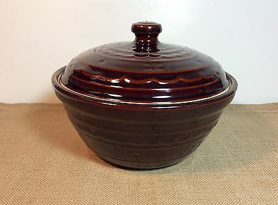 Vintage Marcrest Stoneware Ovenproof Bean Pot Bowl with Lid Daisy &  Dot Pattern