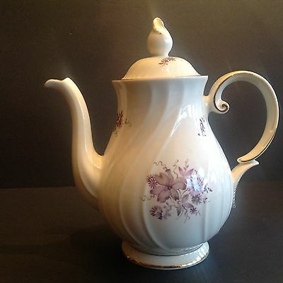 Vintage Arabia Finland Coffee Pot Purple Flowers gilding Traditional Shape