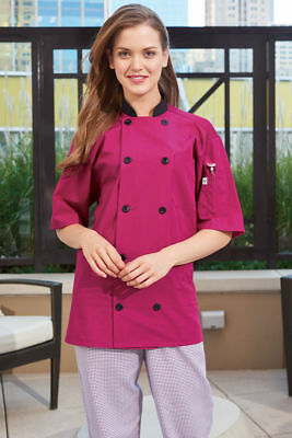 Uncommon Threads Chef Jacket Coat HAVANA w/Tonal Mesh 0494 BERRY sz XS-2XL
