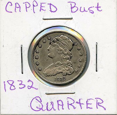 1832 25C Capped Bust Silver Quarter. Circulated. Lot #2346