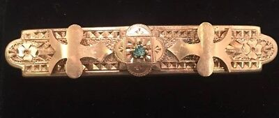 Victorian Ornate Gold Plated With Blue Rhinestone Pin