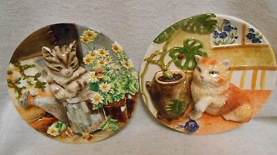 2 Cat Plates Orange Tabby Brown Tabby Design In Relief