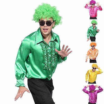 70s Disco Ruffle Shirt Mens 1970s Fancy Dress Costume Adult Fever 60s T-Shirts