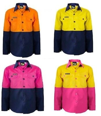 Kids Hi Vis Two Tone Long Sleeve Shirt  Workwear Tradie