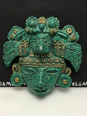Mexican Mayan Green / Brown Stone Head Figure Wall Hanger - Mexican Souvenir