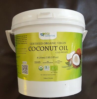 Certified Organic Virgin Coconut Oil 4L + Free Postage *** NEW STOCK ***