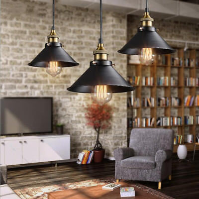 3/6Pcs Retro Industrial Vintage Hanging Iron Ceiling Lamp Pendant Light Fixture
