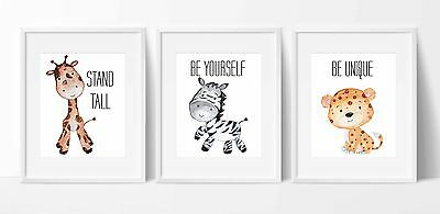 Set of 3 A4 Safari Animals Nursery Wall Prints (Zebra,Leopard,Giraffe)
