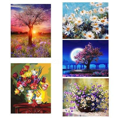 40*50CM Framed/Unframed Flower DIY Paint By Number Kit On Canvas Home Wall Decor