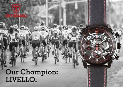 DETOMASO Livello Mens Watch Red Black Chronograph Big Date Stainless Steel. New!