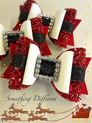 Santa Christmas Buckle Belt Sparkle Glitter Handmade Hairbow