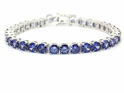 Sterling Silver Tanzanite 8.25ct Tennis Bracelet (925) Free Luxury Box
