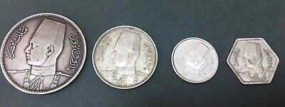 1939 Kingdom Of EGYPT 4 Coins King Farouk  SILVER COIN - ##