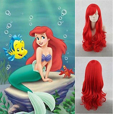 Hot!! Disney Little Mermaid Princess Ariel Red Long Curly Synthetic Cosplay Wig