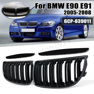 Front Gloss Black Kidney Grill Grilles Double Slat For BMW Saloon E90 E91 05-08