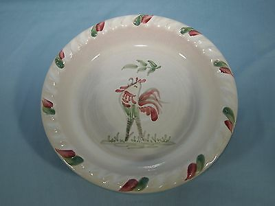 Vintage Rowe Pottery Pie Plate 2002 Tan Hand Painted Rooster