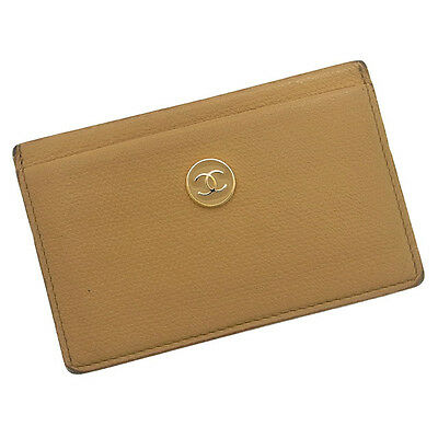 Auth CHANEL card case Coco button unisexused J1181