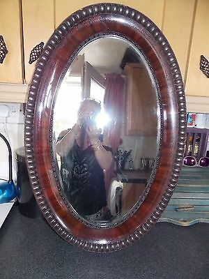 Vintage mirror oval with bevel glass and plaster and wood frame 48x74cm all orig