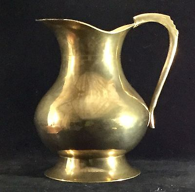 Vintage Solid Brass Water Pitcher Ewer Jardiniere Planter Flower Vase Gold Decor