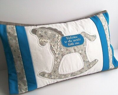 Embroidered Baby cushion Nursery decoration. Baby shower gift. Rocking horse