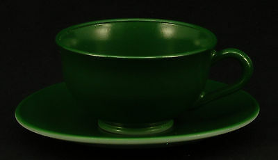 Hazel Atlas Glass Ovide Dark Green Cup and Saucer