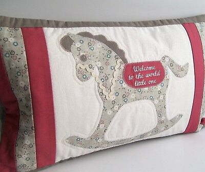 Baby children cushion cover Nursery bedroom . Decorative rocking horse. Girl