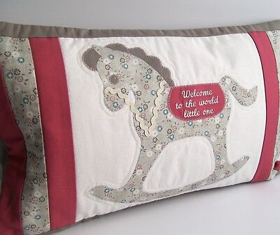 Decorative Baby cushion. Embroidered Nursery baby shower gift. Rocking horse