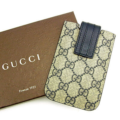 Auth GUCCI card case GG pattern unisexused J14949