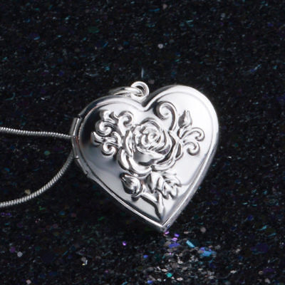 HEART ROSE FLOWER 925 Sterling Silver Plate Photo Locket Pendant Necklace Lady