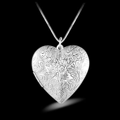 UK VINTAGE HEART FLOWER 925 Silver PLT Photo Locket Pendant Necklace Lady