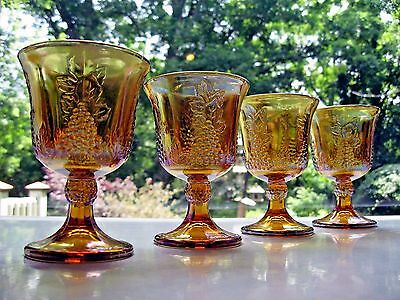 Indiana Glass 4 Gold Carnival Harvest Grape 8 ounce Goblets