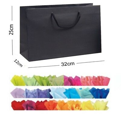 Black Recycled Landscape Boutique Shop Gift Bags - Rope Handle Bag & Tissue