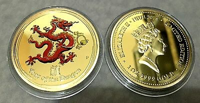 1 oz LMT EDITION 2014 Year Of The Dragon Finished in 999 24k Gold Medallion coin
