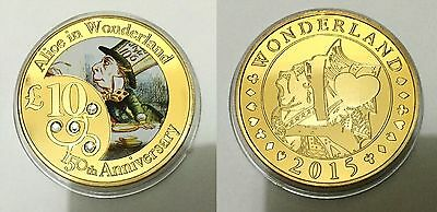 150th Anniv Alice In Wonderland - Mad Hater Finished in 999 24k Gold coin