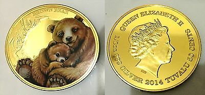 2014 TUVALU Mother's Love - Brown Bear Finished in 999 24k Gold Medallion coin