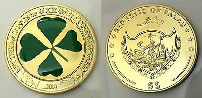 Palau Four Leaf Clover goodluck coin Finished in 999 24k Gold Medallion coin