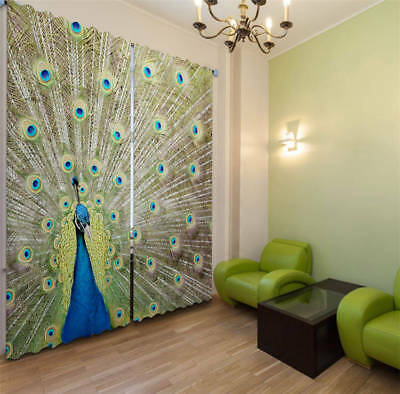 Superb Peacock Tail 3D Blockout Photo Curtain Print Curtains Fabric Kids Window