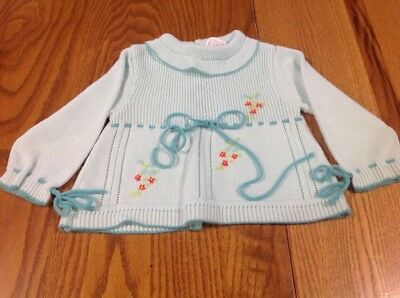 Vintage Knit Baby Girl Sweater Clothes With Hand Embroidery Size 18 Months aqua