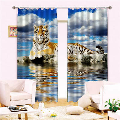 An Unsettled Tiger 3D Blockout Photo Curtain Print Curtains Fabric Kids Window