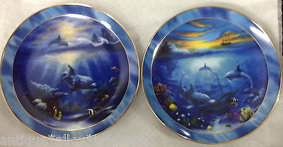 2 Plates Swimming Lessons + A Hidden World Franklin Mint Heirloom Series