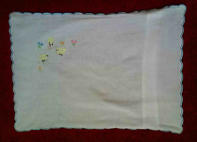 Vintage baby crib/pram cotton white pillpw case with chicks & blue picot edging