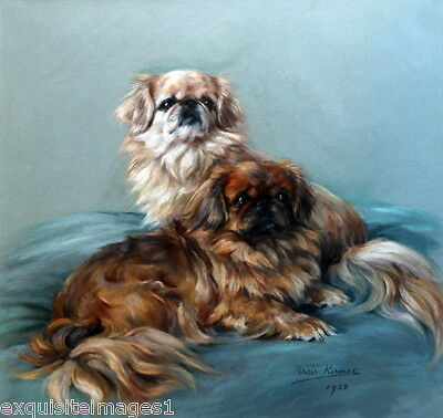1938 Art~ Pair of Pekingese Puppy Dogs~Dog~NEW Large Note Cards