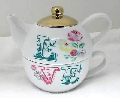 MINT Stacking Teapot & Cup Love w Roses Ciroa Romantic Bohemian Style NICE!