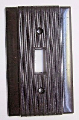 1 Vintage Brown Switch Plate Wall Cover Ribbed Uniline Hubbell Bryant Bakelite