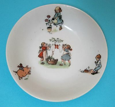 Antique Children's Germany Bowl Girls Doing Laundry Riding a Pig So Cute!   T68