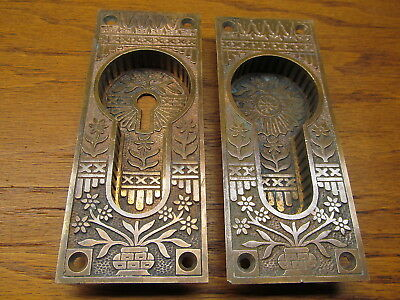 Pair Old Eastlake ?? Potted Flower Pocket Door Escutcheons...brass ?? Bronze ??